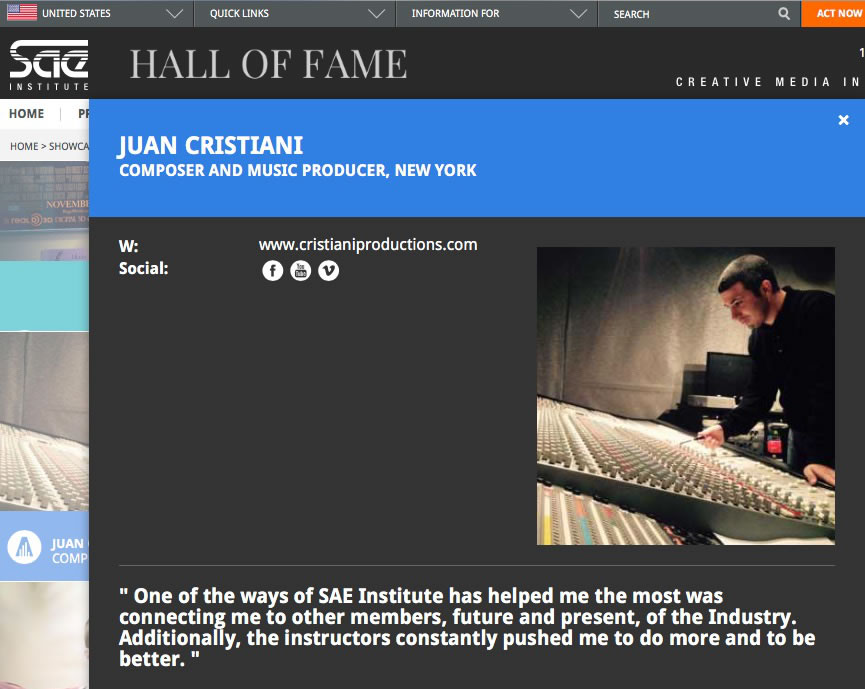 Juan Cristiani SAE Hall of Fame